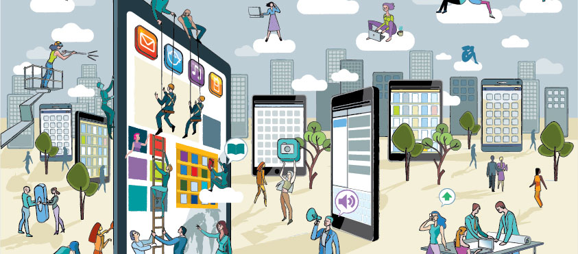 Illustration showing people working in city made of tablets and smartphones