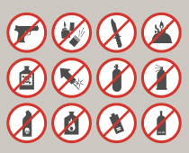 Items prohibited in federal buildings. Details in next section.