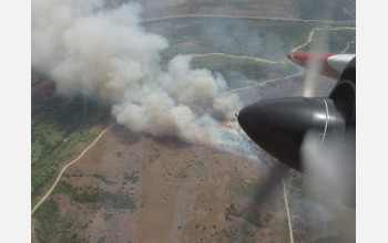 aerial view of wildfire, smoke and flames covering large area of field