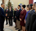 Image of President Obama with the 2010 and 2011 PAESMEM awardees on Dec. 12, 2011.