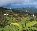 Meteorological station on a clear day in the cloud forest of Puerto Rico's Luquillo Mountains.
