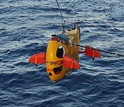The autonomous underwater vehicle Sentry lowered from a research ship; it will explore deep reefs.