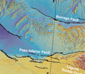 3-D map of fault surface ruptures in black marking breaks in the Earth's crust.