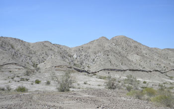 Photo showing a scarp offsetting the ground along a fresh rupture of the Borrego Fault.