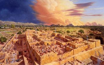 illustration of reconstructed Hohokam platform mound in the Sonoran Desert in the 13th century A.D.