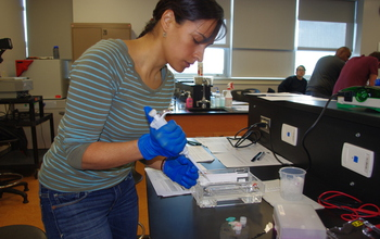 At City College of San Francisco, student Daniela Cardenas prepares DNA for analysis