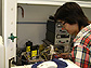 Princeton REU student Claire Woo at work in the laboratory of Jay Benziger.