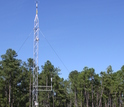 Meteorological tower next to a forest
