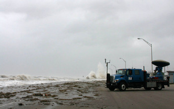 As in Hurricane Ike in Texas (pictured), NSF's Doppler on Wheels set up near Hurricane Harvey.