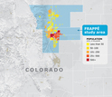 map showing the state of Colorado and the FRAPPE study area