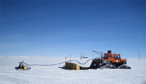 Researchers collect data in Greenland.