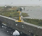 A weather pod deployed on a bridge north of the Doppler on Wheels. It tracked Harvey's winds.