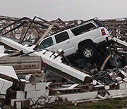 A destroyed building 1,000 feet from the Doppler on Wheels