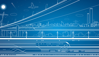 illustration showing a city skyline, bridge, airplane and power grid