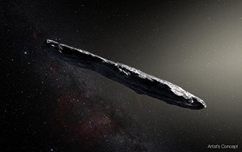 Artist's conception of interstellar object 'Oumuamua