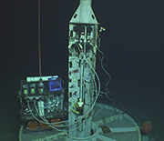 Photo of the watertight seafloor well that's used to access the deep subsurface aquifer.