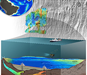 Illustration of sea floor, Earth's crust, water, and research vessel submerging equipment into water.