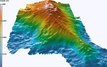 Three-dimensional representation of Loihi Seamount, with depths below the ocean surface in meters.