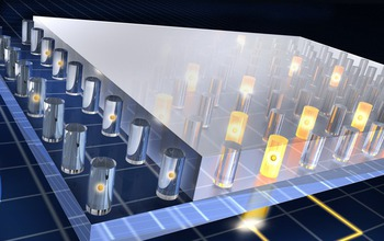 Illustration showing how quantum materials can store information written and read using light