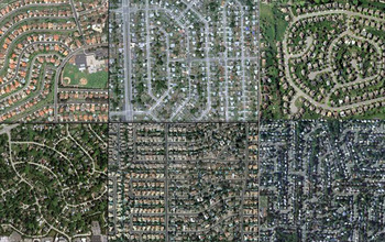 Aerial views of lawns in San Diego, Miami, Philadelphia, Chicago, Phoenix, and Levittown, N.Y.