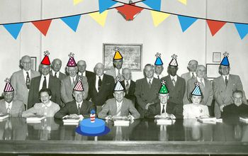 inaugural national science board members wearing party hats