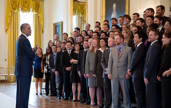 President Obama talks with PECASE recipients at the White House.