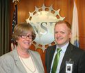 2014 PECASE awardee Jeffrey Karpicke meets with NSF's EHR Assistant Director Joan Ferrini-Mundy.