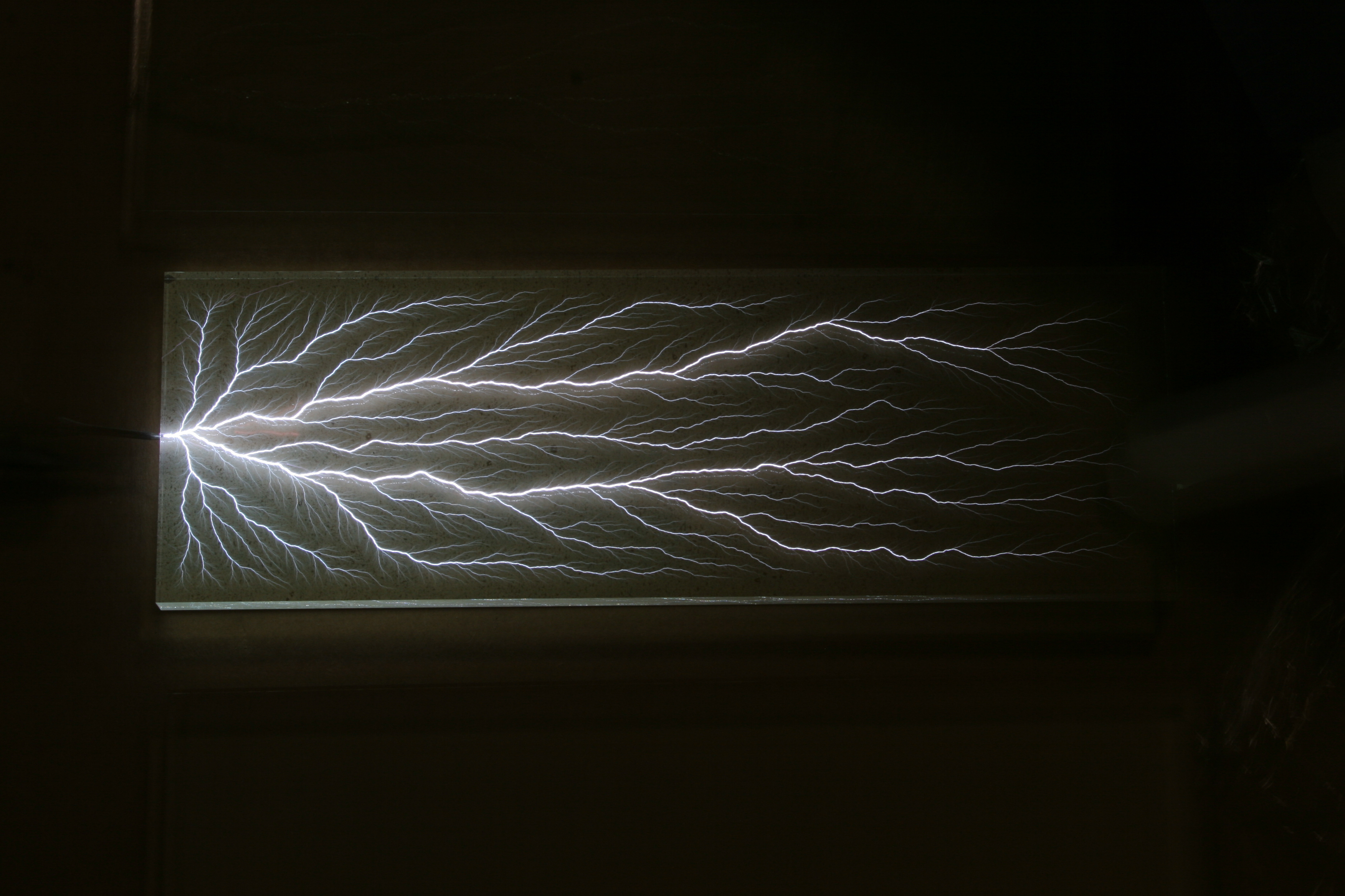A charged . . . specimen of acrylic plastic being discharged to form a 'captured lightning' Lichtenberg figure. . . . A particle accelerator was used to charge up the interior of the specimen to over 1.7 million volts. Photo credit: Bert Hickman, Stoner