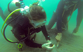 NSF-funded researchers scan the ocean floor for clams alongside a fisher in Loreto Bay, Mexico.
