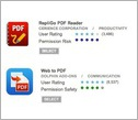 two apps for download with user rating and permissions risk or safety