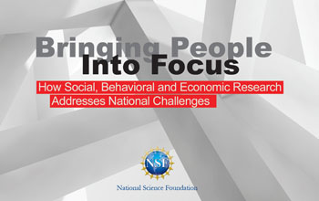 Cover of NSF brochure showing people and the headline bringing people into focus