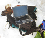 Science in the snow: Downloading data on trees and snowmelt at the Southern Sierra CZO.