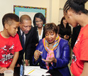 students with Rep. Eddie Bernice Johnson