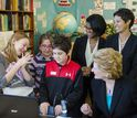 students with Sen. Stabenow