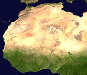 Satellite image of the Sahara Desert and grasslands to the south.