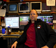 Robert Schwarz, of the University of Minnesota-Twin Cities College of Science and Engineering, at his South Pole workstation