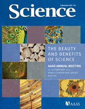 Image of the November 2, 2012 cover of Science magazine