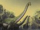 Reconstruction of the new titanosaur and the landscape in which it lived, in what is now Tanzania.
