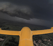 The drone named TTwistor3 approaching a supercell thunderstorm in southern South Dakota.