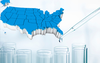 U.S. 3-d map and test tubes