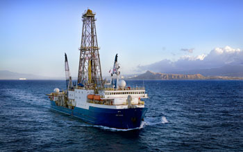 Aerial view of the drillship JOIDES Resolution, workhorse of the Integrated Ocean Drilling Program.