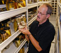 scientist Larry Page in the fish collection at the Florida Museum of Natural History.