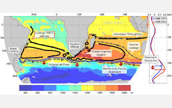 Map showing the Agulhas Current system and its leakage into the Atlantic Ocean.