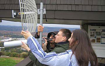 Photo of CASA ERC students deploying an off-the-grid, wireless radar system in Puerto Rico.