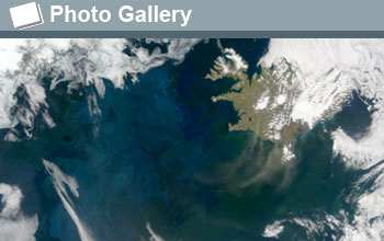 Satellite image of the seas off Iceland with the words Photo Gallery and a photo gallery icon.