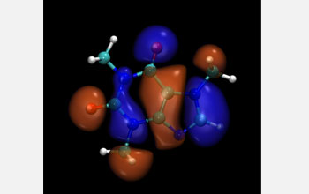Graphical representation of the caffeine test molecule and its highest-occupied 3D electron orbital.