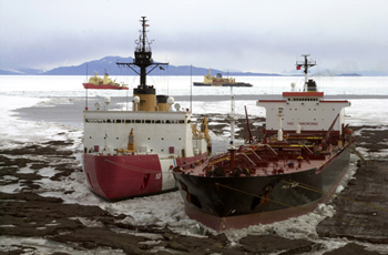 Four ships near McMurdo Station, Ross Island in January 2005