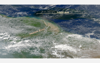 Photo showing the Amazon River's outflow into the Atlantic Ocean.