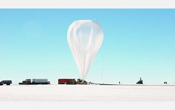 Photo of a Long Duration Balloon inflated at the facility near McMurdo Station.
