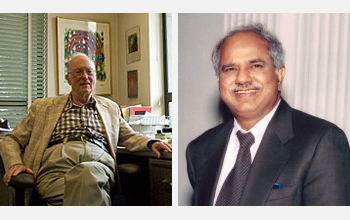 Charles Townes (left) and Raj Reddy received NSB Vannevar Bush Award.